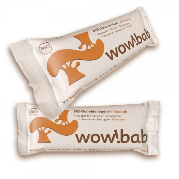 wow!bab Bio Getreideriegel Orange & Baobab
